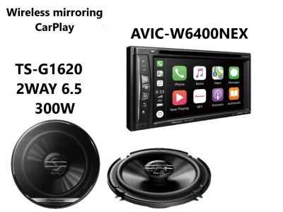 AVIC-W6400NEX_Car-Play_Wireless_mirror_TS-G1620F_Speaker_combo
